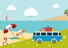 Día soleado de la playa del verano ilustración del vector