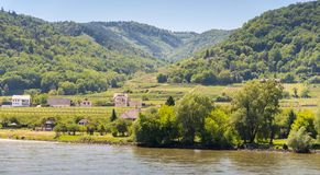 Día soleado de una pequeña ciudad en el valle de Wachau con el río Danubio adentro Fotos de archivo