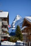 Día soleado del invierno en las montañas de las montañas suizas Imagenes de archivo