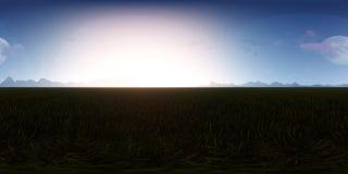 día soleado del panorama de la representación 3d con horizonte de las montañas Imagenes de archivo