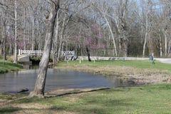 Día soleado en el día del perfet del río a estar en el parque Foto de archivo libre de regalías