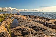 Día soleado en Karlstad Suecia Fotos de archivo