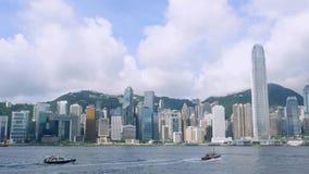 Día soleado en la ciudad de Hong Kong almacen de metraje de vídeo