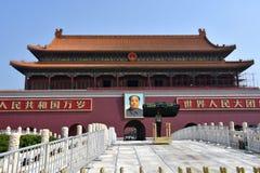 Día soleado en la puerta de Tiananmen, Pekín, China foto de archivo libre de regalías