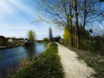 Día soleado hermoso al lado de un lago Fotografía de archivo libre de regalías