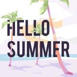 Día soleado hermoso en la playa con las palmeras ilustración del vector
