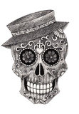 Día sonriente de la cara del arte del cráneo de los muertos ilustración del vector