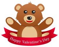Día Teddy Bear de la tarjeta del día de San Valentín s con la cinta stock de ilustración
