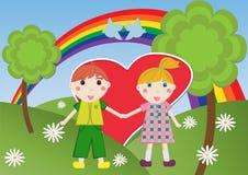 Día y cabritos de la tarjeta del día de San Valentín libre illustration