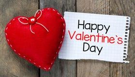 Día y corazón felices de las tarjetas del día de San Valentín foto de archivo