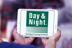 Día y logotipo de la compañía de los sistemas de la calefacción y de enfriamiento de la noche Fotos de archivo