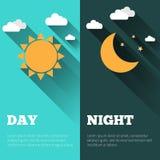 Día y noche banderas del vector aisladas Imagen de archivo libre de regalías