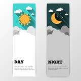 Día y noche banderas del vector aisladas Fotos de archivo libres de regalías
