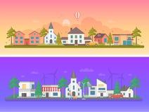 Día y noche ciudad - sistema de ejemplos planos modernos del vector
