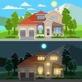 Día y noche ejemplo de la casa stock de ilustración