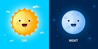Día y noche ejemplos con Sun y la luna Fotografía de archivo