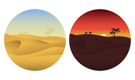 Día y noche en desierto