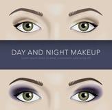 Día y noche fondo del maquillaje del ojo stock de ilustración