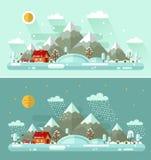 Día y noche paisajes del invierno Foto de archivo