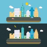 Día y noche plantilla plana del icono del concepto de diseño del paisaje de la ciudad de Real Estate del fondo urbano del verano Imagen de archivo libre de regalías