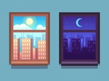 Día y noche ventana Rascacielos de la historieta en la noche con la luna y las estrellas, en el día con el sol dentro de las vent ilustración del vector
