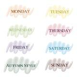 Días coloreados de los indicadores de la semana Imagenes de archivo