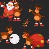 Días de fiesta celebración, Santa Claus de la Navidad que pasa tiempo con el reno libre illustration