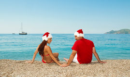 Días de fiesta de la Navidad por el mar. Fotos de archivo