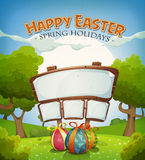 Días de fiesta de Pascua y paisaje de la primavera con la muestra Imagen de archivo