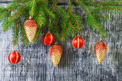 Días de fiesta juguetes del abeto del Año Nuevo y de la Navidad Fotografía de archivo
