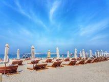 Días de fiesta de la playa en Dubai imagen de archivo libre de regalías