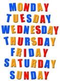 Días de la semana Imagen de archivo libre de regalías