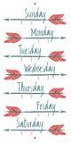 Días de la semana y de flechas Foto de archivo libre de regalías
