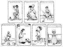 Días de la vendimia de la rima de cuarto de niños de la semana ilustración del vector