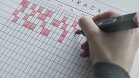 Días de marcado en un calendario por la pluma sentida roja metrajes