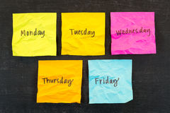 Días de notas pegajosas de la semana Foto de archivo libre de regalías
