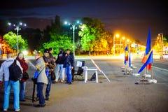 99 días de protesta, Bucarest, Rumania Imagen de archivo