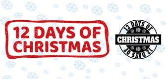 12 días de sellos rasguñados y limpios de la Navidad del sello para la Navidad ilustración del vector