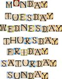 Días de semana Imagen de archivo