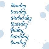 Días de una semana, sistema escrito mano de la muestra, lunes, martes, miércoles, jueves, viernes, sábado, domingo en caligráfico ilustración del vector