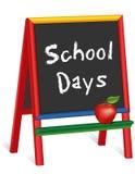 Días escolares, Apple para el profesor, caballete de la pizarra para los niños stock de ilustración