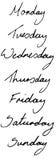 Días escritos mano de la ilustración de la semana Fotografía de archivo