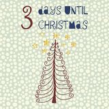 3 días hasta el ejemplo del vector de la Navidad Cuenta descendiente de la Navidad tres días Estilo de la vendimia Estrellas exha stock de ilustración