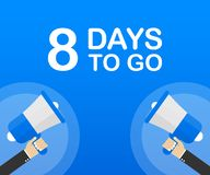 8 días a ir icono plano en fondo azul Bandera para el negocio, el márketing y la publicidad Ilustración del vector stock de ilustración