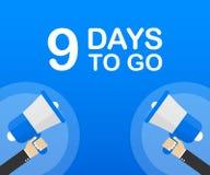9 días a ir icono plano en fondo azul Bandera para el negocio, el márketing y la publicidad Ilustración del vector stock de ilustración