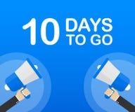 10 días a ir icono plano en fondo azul Bandera para el negocio, el márketing y la publicidad Ilustración del vector ilustración del vector