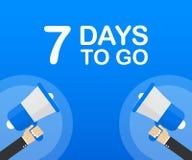 7 días a ir icono plano en fondo azul Bandera para el negocio, el márketing y la publicidad Ilustración del vector stock de ilustración
