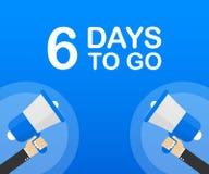 6 días a ir icono plano en fondo azul Bandera para el negocio, el márketing y la publicidad Ilustración del vector stock de ilustración