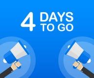 4 días a ir icono plano en fondo azul Bandera para el negocio, el márketing y la publicidad Ilustración del vector ilustración del vector
