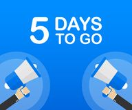 5 días a ir icono plano en fondo azul Bandera para el negocio, el márketing y la publicidad Ilustración del vector libre illustration